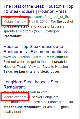 Mobile Friendly Websites in Google Search